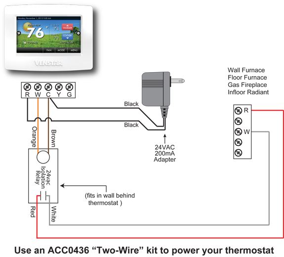 ACC0436 Wiring Diagram thermostat for wall or floor furnace hvac problem solver 2 wire thermostat wiring diagram heat only at bakdesigns.co